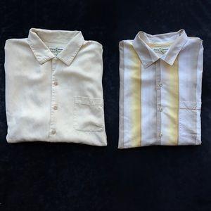 Lot of 2 Tommy Bahama Silk Short Sleeve Shirts